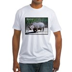White Rhino Rhinoceros Photo (Front) Fitted T-Shir