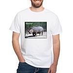 White Rhino Rhinoceros Photo (Front) White T-Shirt