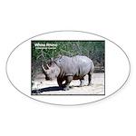 White Rhino Rhinoceros Photo Oval Sticker