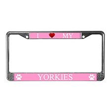 Pink I Love My Yorkies Frame