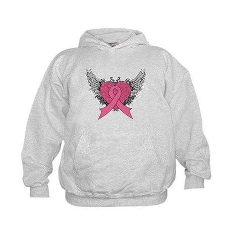 Grunge Heart Breast Cancer Kids Hoodie