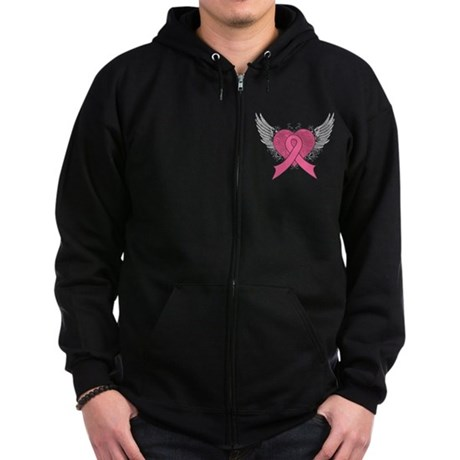 Grunge Heart Breast Cancer Zip Hoodie (dark)