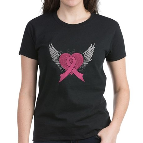 Grunge Heart Breast Cancer Women's Dark T-Shirt