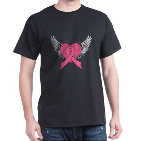 Grunge Heart Breast Cancer Dark T-Shirt