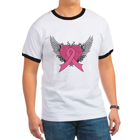 Grunge Heart Breast Cancer Ringer T