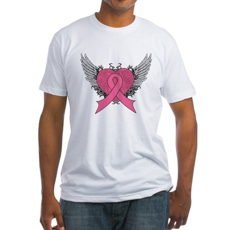 Grunge Heart Breast Cancer Fitted T-Shirt