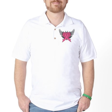 Grunge Heart Breast Cancer Golf Shirt