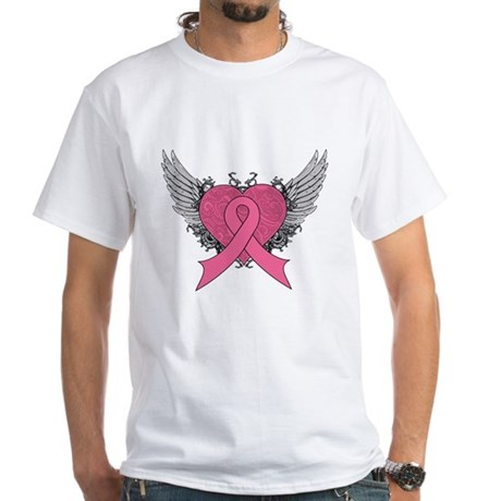 Grunge Heart Breast Cancer White T-Shirt