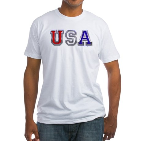 USA Chrome Fitted T-Shirt
