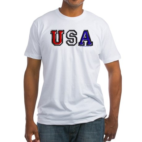 USA Black Chrome Fitted T-Shirt