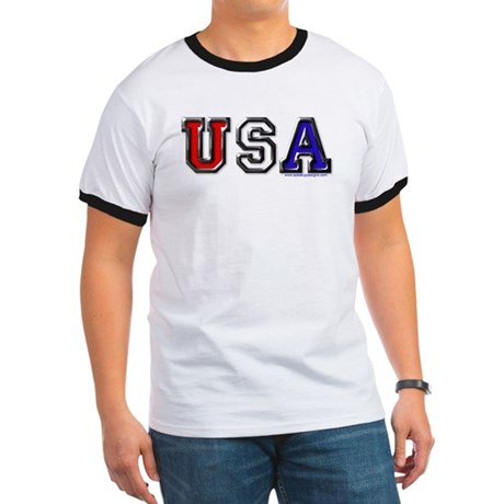 USA Black Chrome Ringer T
