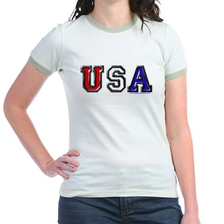 USA Black Chrome Jr. Ringer T-Shirt
