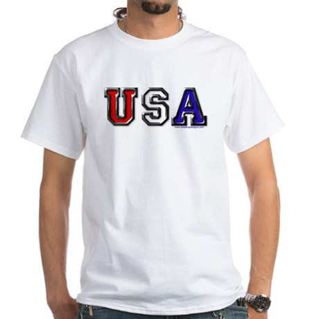 USA Black Chrome White T-Shirt