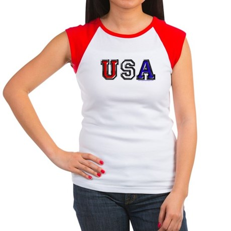 USA Black Chrome Women's Cap Sleeve T-Shirt