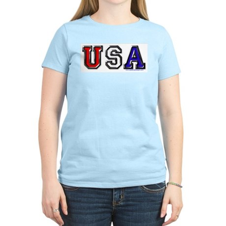 USA Black Chrome Women's Pink T-Shirt