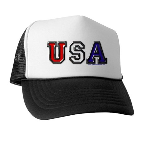 USA Black Chrome Trucker Hat
