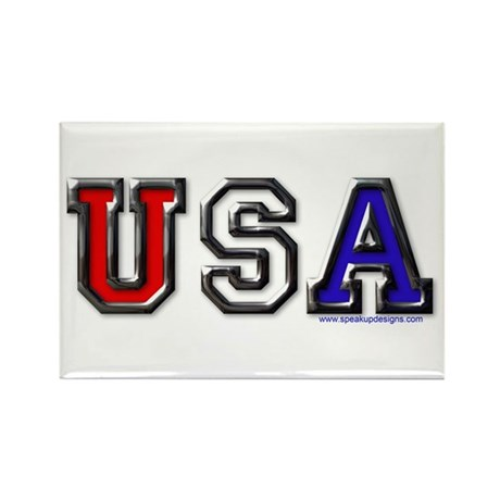 USA Black Chrome Rectangle Magnet