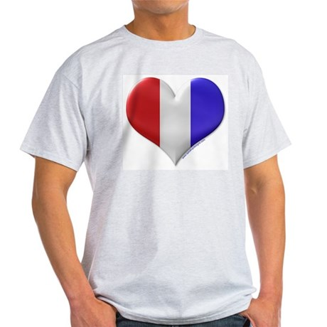 Heart - Red, White, & Blue Ash Grey T-Shirt