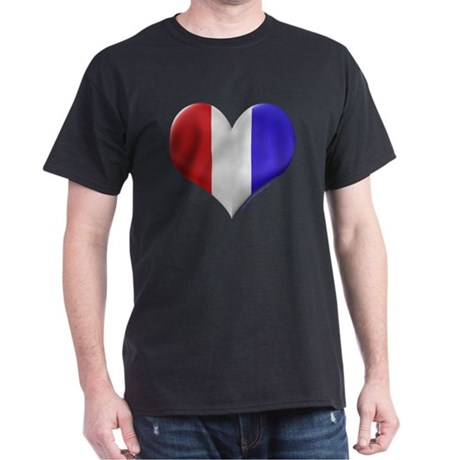 Heart - Red, White, & Blue Black T-Shirt