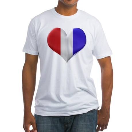 Heart - Red, White, & Blue Fitted T-Shirt