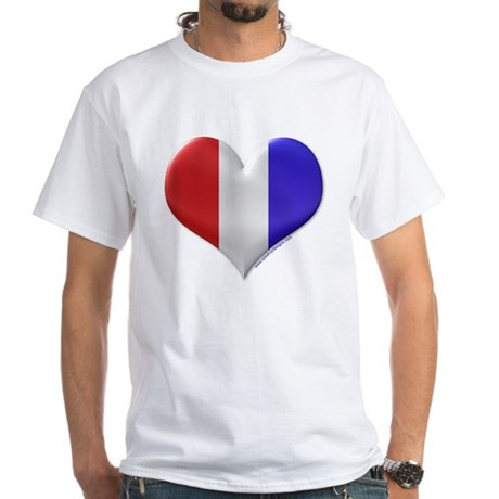 Heart - Red, White, & Blue White T-Shirt
