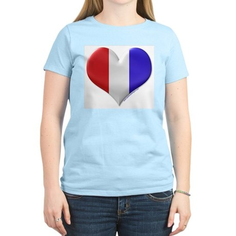 Heart - Red, White, & Blue Women's Pink T-Shirt
