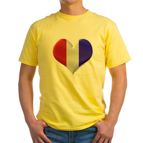 Heart - Red, White, & Blue Yellow T-Shirt