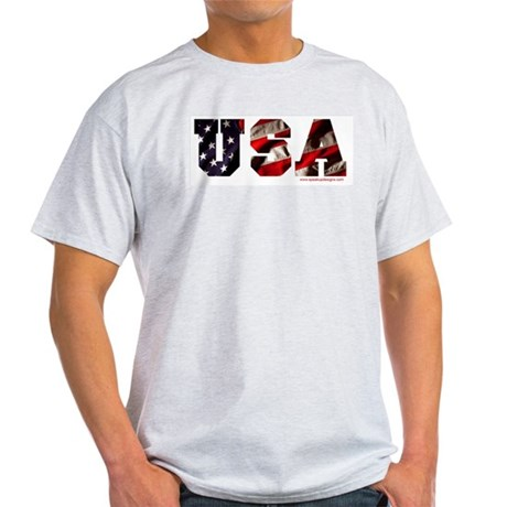 USA Flag Ash Grey T-Shirt