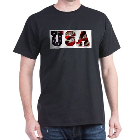USA Flag Black T-Shirt