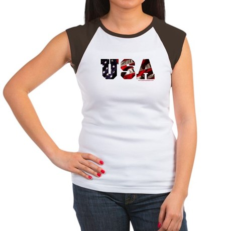 USA Flag Women's Cap Sleeve T-Shirt
