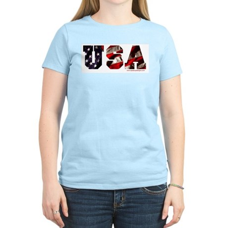 USA Flag Women's Pink T-Shirt