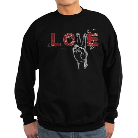 Love Peace V Men's Dark Sweatshirt