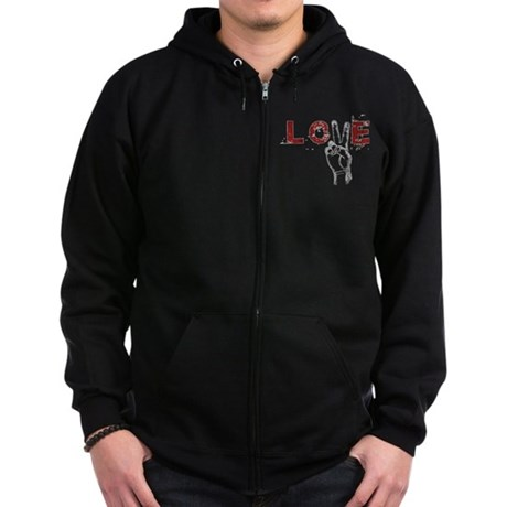 Love Peace V Men's Dark Zip Hoodie