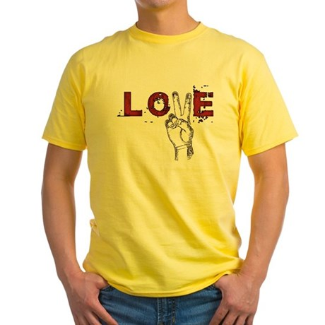 Love Peace V Men's Yellow T-Shirt