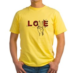 Love Peace V Yellow T-Shirt