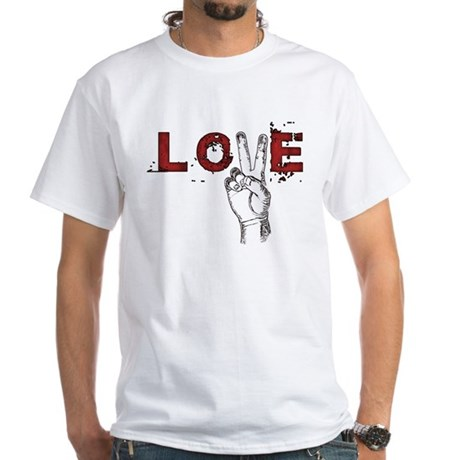 Love Peace V Men's White T-Shirt