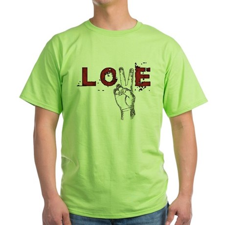 Love Peace V Green T-Shirt