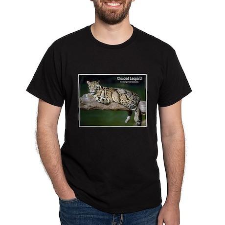 Clouded Leopard Photo (Front) Black T-Shirt