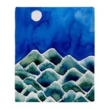 Moonscape watercolor Blanket (two-sided)