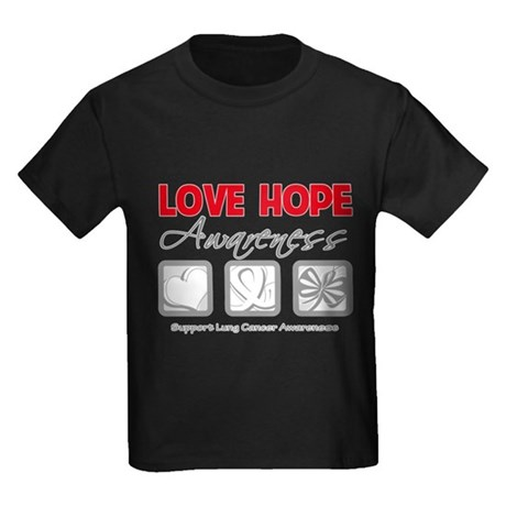 LungCancer LoveHope Kids Dark T-Shirt