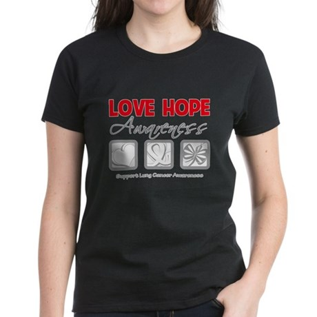 LungCancer LoveHope Women's Dark T-Shirt