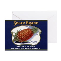 'Solar Brand' Pineapple Label Greeting Cards (Pack
