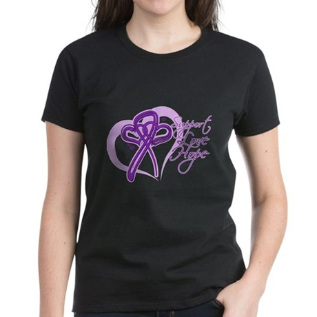 Heart Pancreatic Cancer Women's Dark T-Shirt