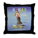 'Hawaii By Clipper' Panam Poster Throw Pillow