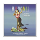 'Hawaii By Clipper' Panam Poster Tile Coaster