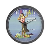 'Hawaii By Clipper' Panam Poster Wall Clock