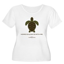 Turtle Women's Plus Scoop Neck White T-Shirt