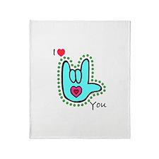 Aqua Bold I-Love-You Throw Blanket
