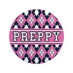 "Pink Argyle Preppy 3.5"" Button"