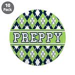 """Green Argyle Preppy 3.5"""" Button (10 Pk)"""